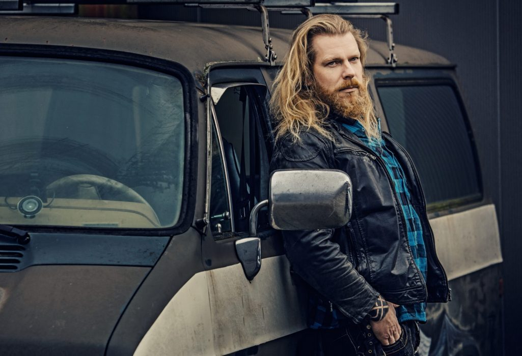 Redhead Gangster biker criminal man